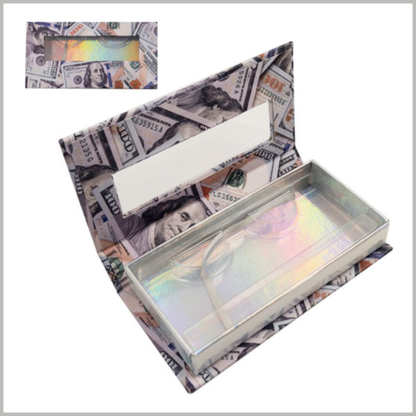 custom Creative lash boxes with US dollar pattern designing. Creative flip-type eyelash packaging, dollar pattern covers the entire outer surface of the package.