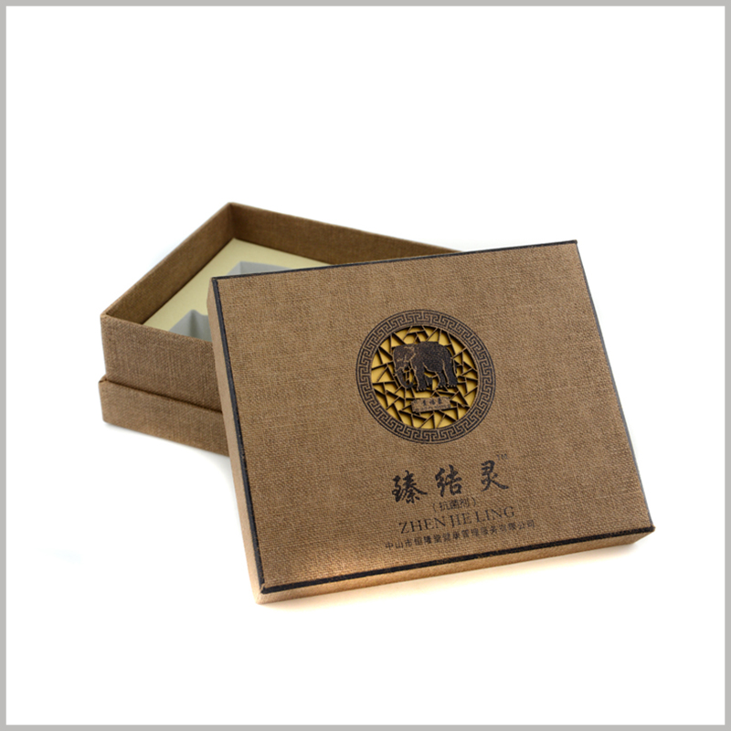 custom Imitation cloth cardboard packaging for shampoo box set. The creative box top cover is printed with the brand name and logo to strengthen branding.