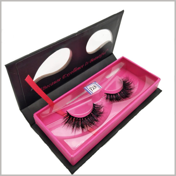 custom black cardboard boxes for eyelash packaging, In order to better protect and display the eyelashes, an insert is specially designed for the false eyelashes inside.