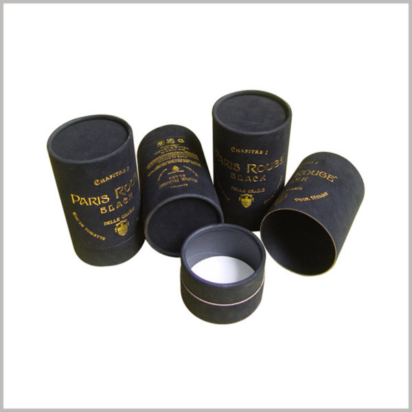 custom black cardboard tube cosmetic packaging for perfume,Black cardboard and black touch paper as the main raw material of paper tube
