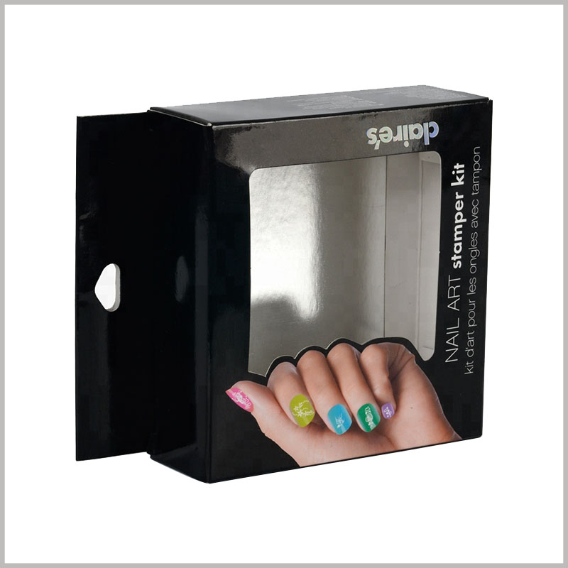 custom black packaging box for nail art stamper kit. The main promotional graphics of customized packaging are closely related to the characteristics of the product.