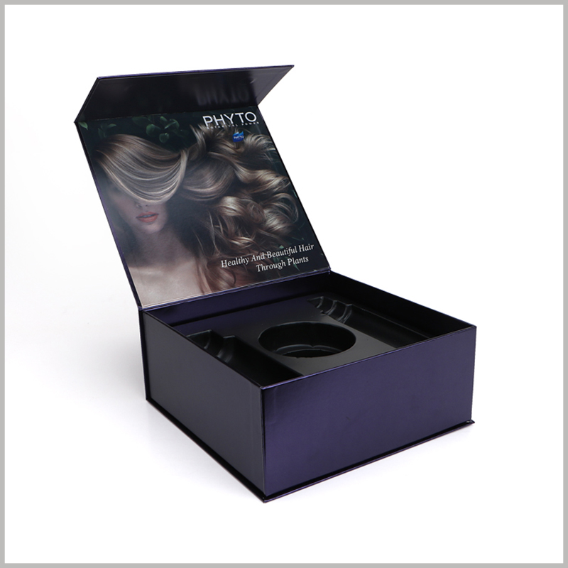 custom black printed boxes for shampoo packaging. The inside of the customized packaging lid is printed with pictures related to the product, and customers will easily understand the product.