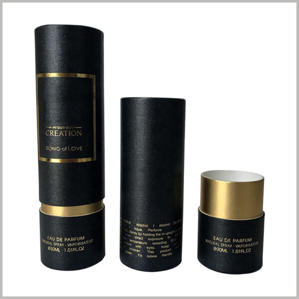 custom black tube packaging for 30ml perfume boxes. Perfume packaging has a good overall visual sense and plays an important role in attracting customers' attention.
