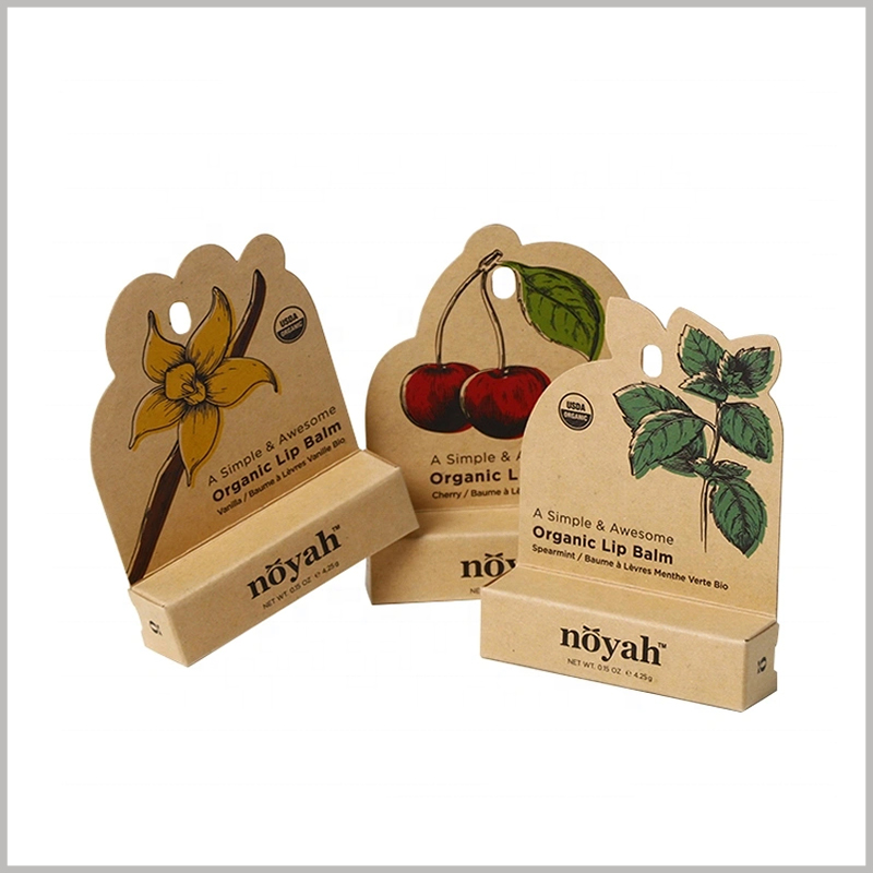 custom brown eco friendly lip balm packaging boxes. Determine the style of the kraft paper packaging design according to the lip balm, ensuring that the product and packaging are perfectly matched.