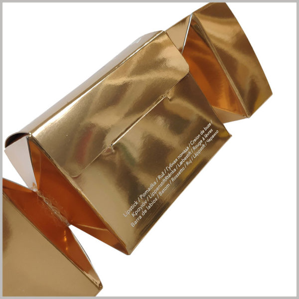 custom candy-shape boxes for lipstick packaging. The side of the golden packaging box is printed with the necessary product information, and customers will quickly be able to recognize that the internal product is lipstick.