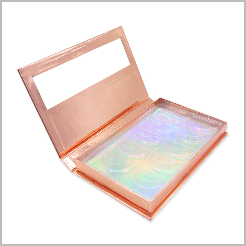custom cardboard boxes for 5 pairs of eyelash packaging. Put laser paper on the inner bottom of the eyelash box package, so that the inside of the golden box has different colors of shiny glitter.