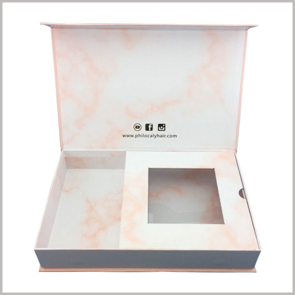 custom cardboard boxes for weave hair packaging box. The cardboard divides the interior space of the pink package into two separate small spaces, which can accommodate two different wigs.