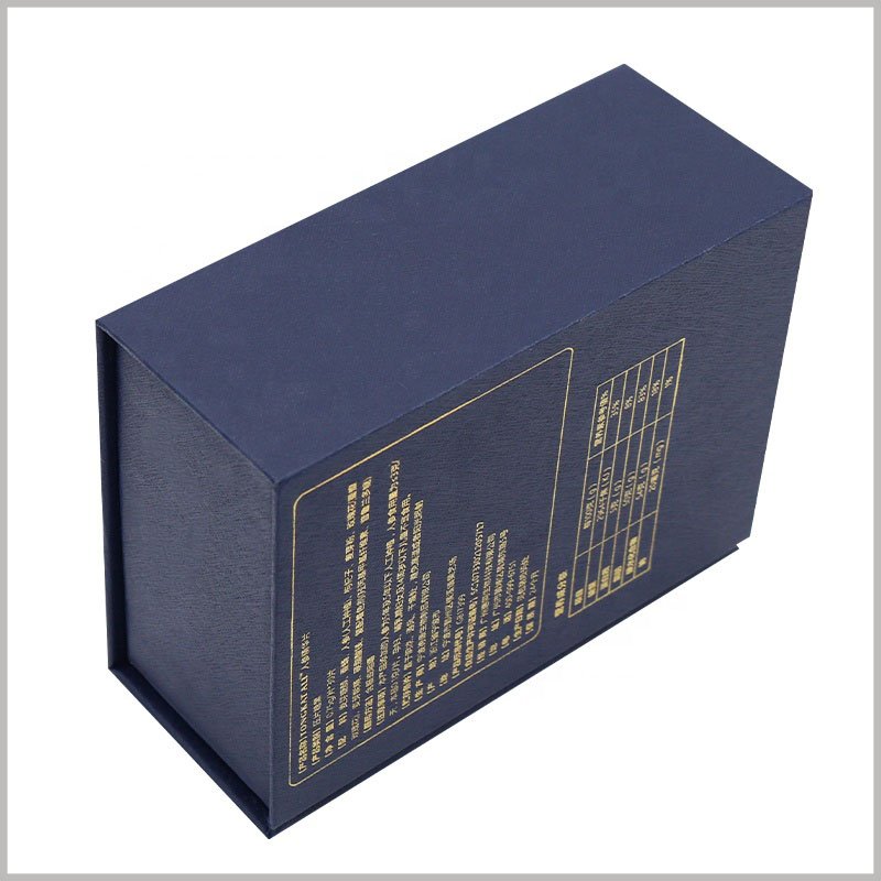 Custom cardboard gift boxes for 50ml perfume bottle packaging. On the back of the stylish cardboard perfume box, bronzing prints detailed information, and the packaging plays a role in promoting the product.