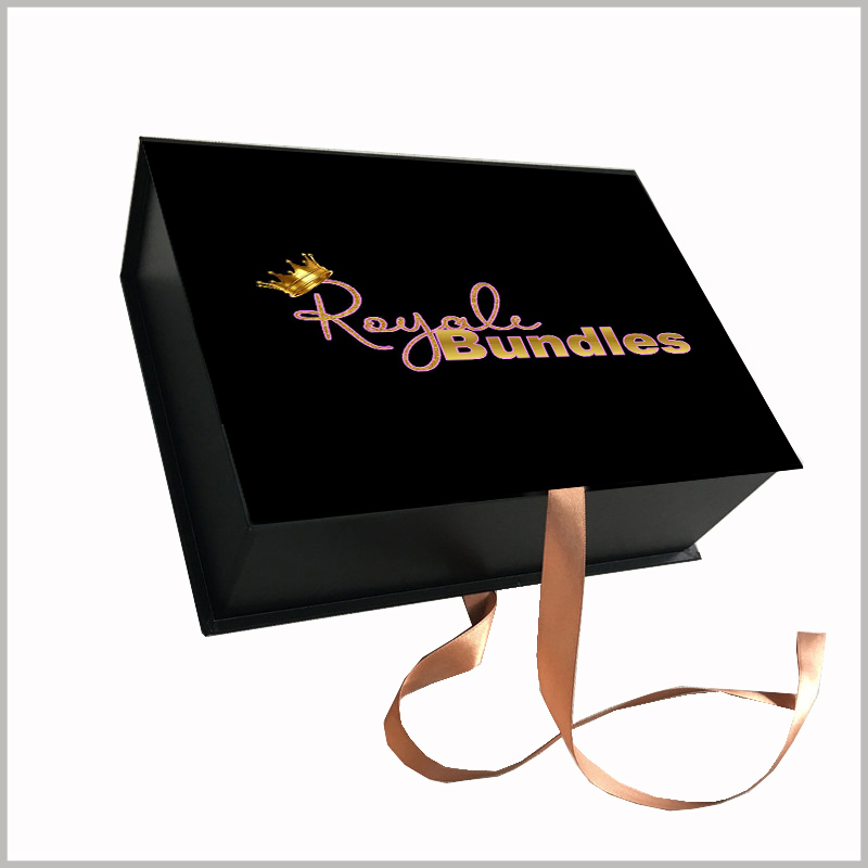 custom cardboard gift boxes packaging for hair bundles.Print special patterns and product names on the front of custom packaging to attract customers' attention and promote their purchases