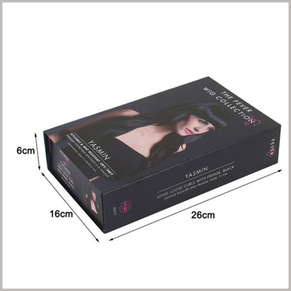 custom cardboard packaging boxes for wigs collection. The detailed dimensions of this cardboard box package are: 26cm × 16cm × 6cm. But you can choose more custom packaging sizes, depending on the product details.