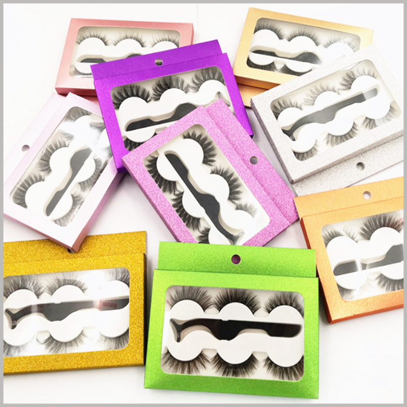custom cheap Eyeslash packaging box with window for 3-pair pack. The transparent window of the customized eyelash packaging boxes will satisfy the customer's desire to peep the product and increase the attractiveness of the product.