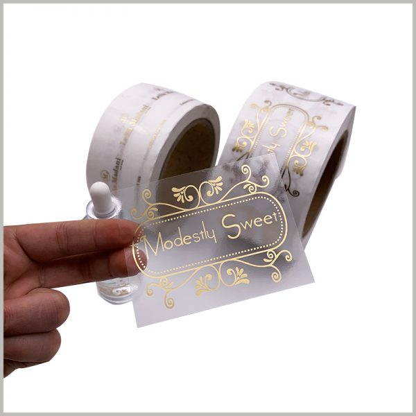 custom clear gold foil labels wholesale.The customized essential oil label has high viscosity, can be firmly connected with the essential oil bottle, and is waterproof.