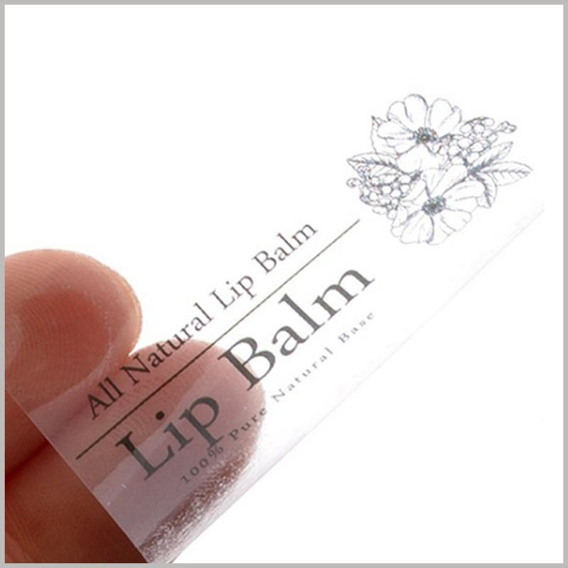 custom clear labels for lip balm.The label pattern, text and other content can be customized to meet the needs of product and brand promotion.
