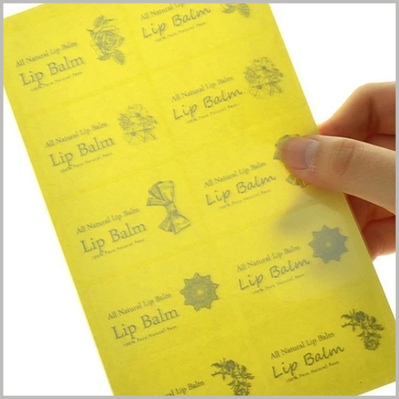 custom clear printed labels for lip balm.The custom printed label has a very high cost performance, which is helpful for the promotion of lip balm.