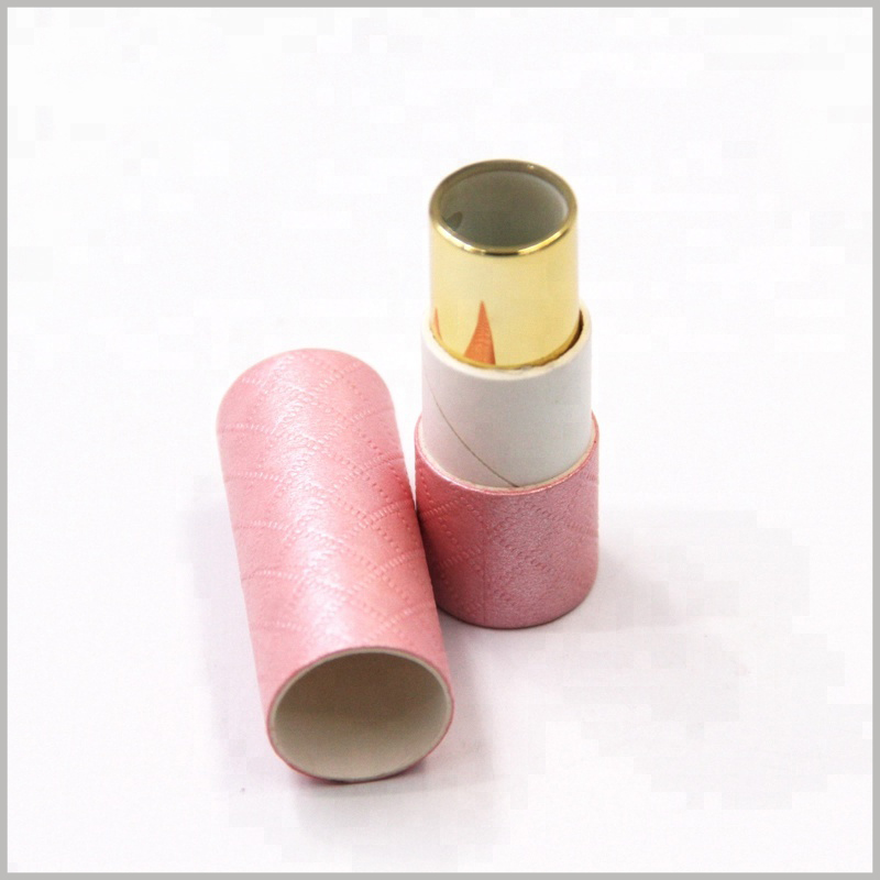 custom creative cosmetic tube packaging for lipstick,Pink imitation cloth paper is used as laminated paper for small cardboard tubes to improve the appearance and attractiveness of packaging.