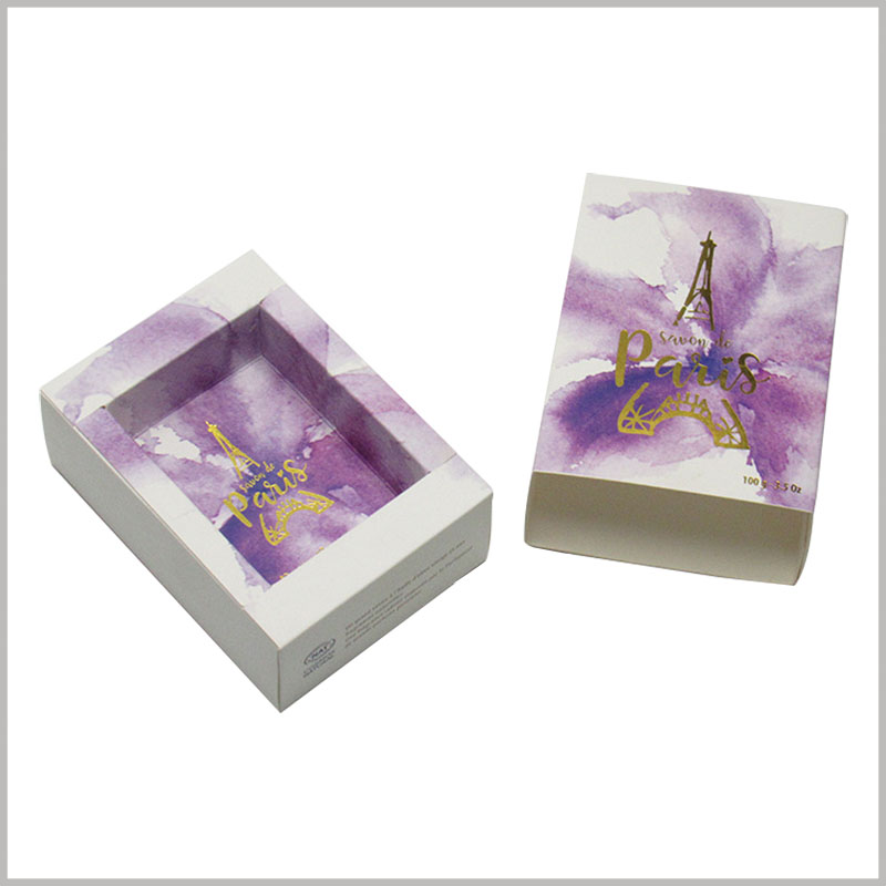 custom creative drawer boxes for soap packaging. As the main element of soap packaging design, the purple pattern is closely related to the characteristics of the product and helps customers quickly understand the product.