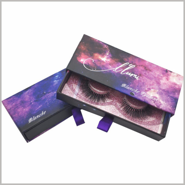 custom creative packaging design for lashes boxes,Cosmic and starry sky as the main elements of eyelash packaging design