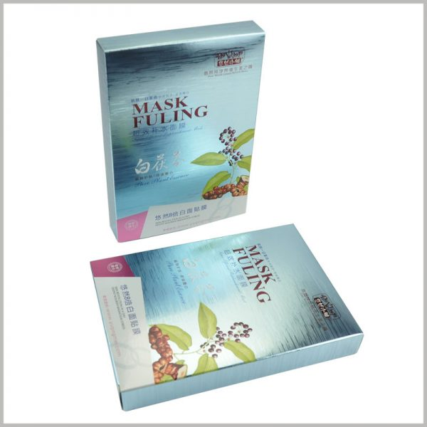 custom creative skin care boxes for hydrating face mask packaging.After the custom packaging printing, the reverse varnish treatment technology is used to greatly improve the gloss of the mask packaging.