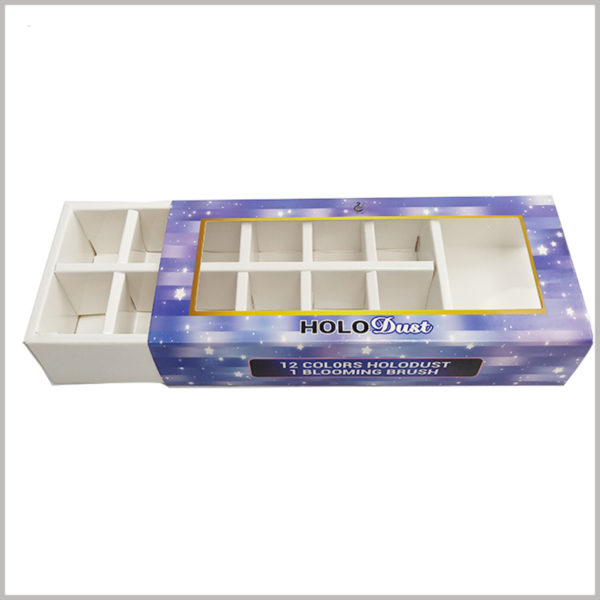 custom drawer boxes with window for nail polish packaging. Customized cosmetic packaging is in the form of drawer box packaging, and the packaging can be opened by simply sliding the inner box of the drawer.