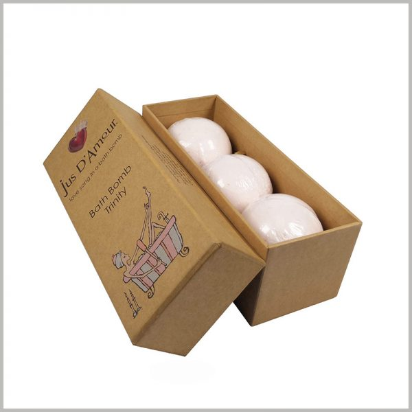 custom eco friendly kraft paper packaging for bath bombs. The elegant soap packaging is designed for 3 pieces, and the packaging structure is compact to avoid excessive packaging of the product.