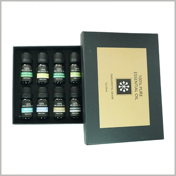 custom essential oil packaging with EVA insert for 12 bottles.The inside of the essential oil packaging box uses EVA as an insert to fix and protect the essential oil.