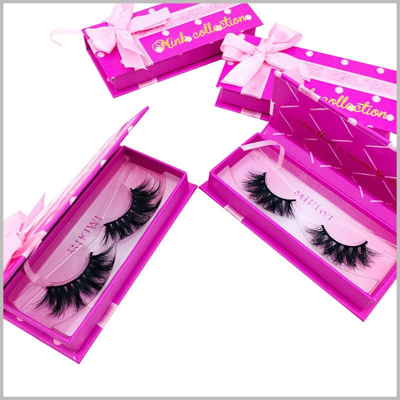 custom eyelash gift box packaging with ribbon.A matching blister tray can be provided according to the size of the false eyelash packaging to fix the false eyelash product.