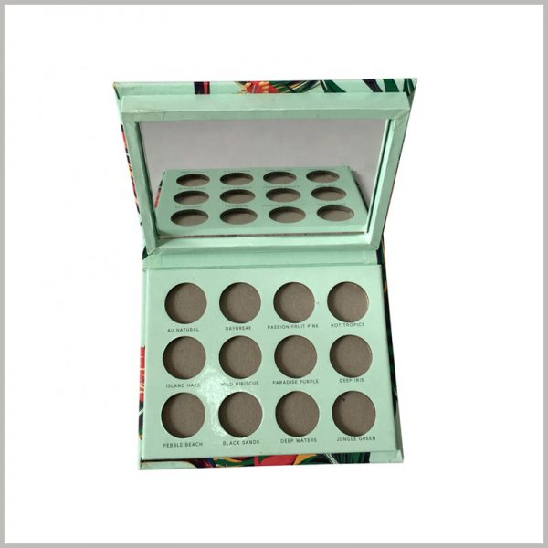 custom eyeshadow palette packaging with mirror. A mirror is set on the inside of the lid of the cosmetic package, which increases the practical function of the package, which is helpful to improve the attractiveness of the product.