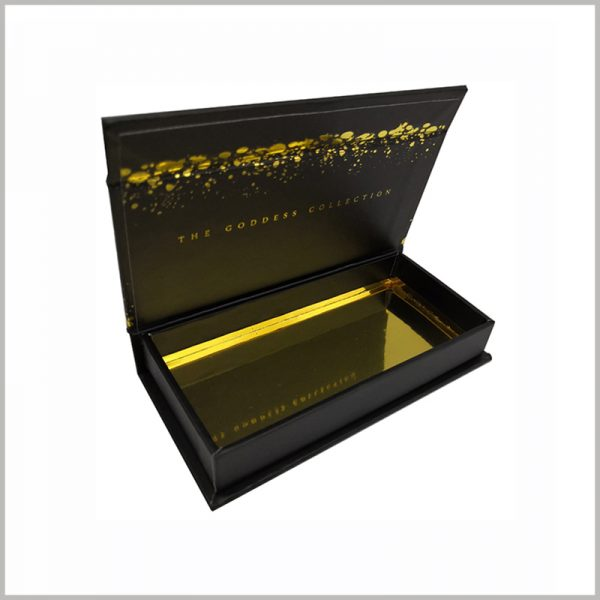 custom false lashes packaging with bronzing printing,The high-gloss gold cardboard is placed in the bottom of the package to set off the interior of the package.