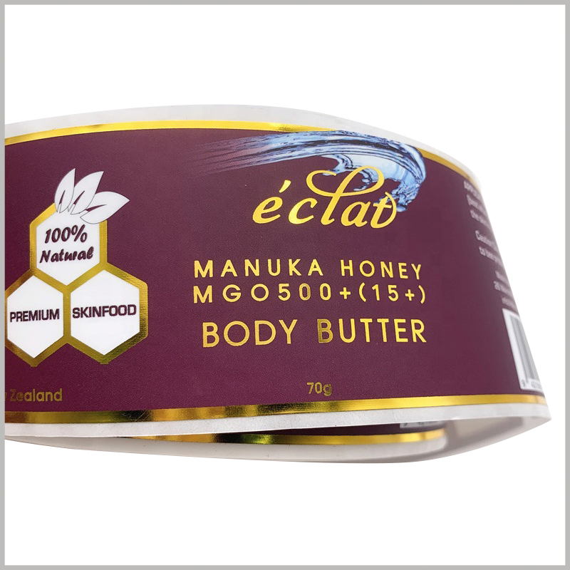 custom fashion labels for body butter.The label content formed by bronzing printing improves the attractiveness of the label and the product, and is more conducive to product sales.