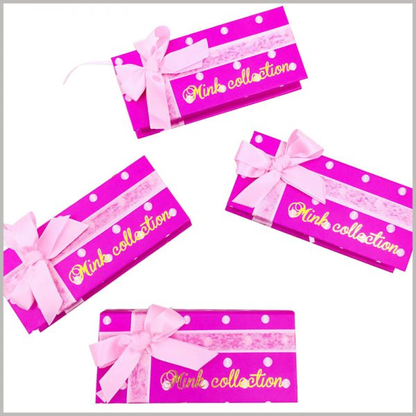 custom gift box packaging with ribbon. There are pink silk gift bows on the top of the custom gift boxes, which increase the value and beauty of the gifts.
