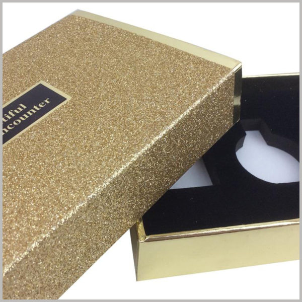 custom gold cardboard boxes for perfume packaging,The inside of the perfume boxes uses a flocking black EVA to hold the perfume glass bottle to maintain the stability of the product.