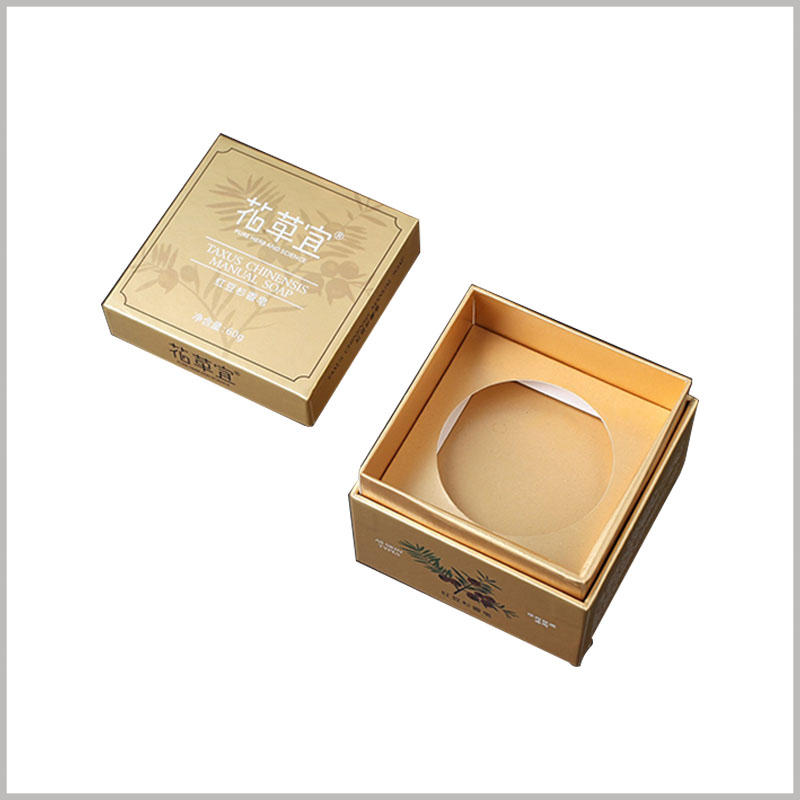 custom gold cardboard soap boxes packaging. Customized golden square boxes are used to accommodate special shape soaps.