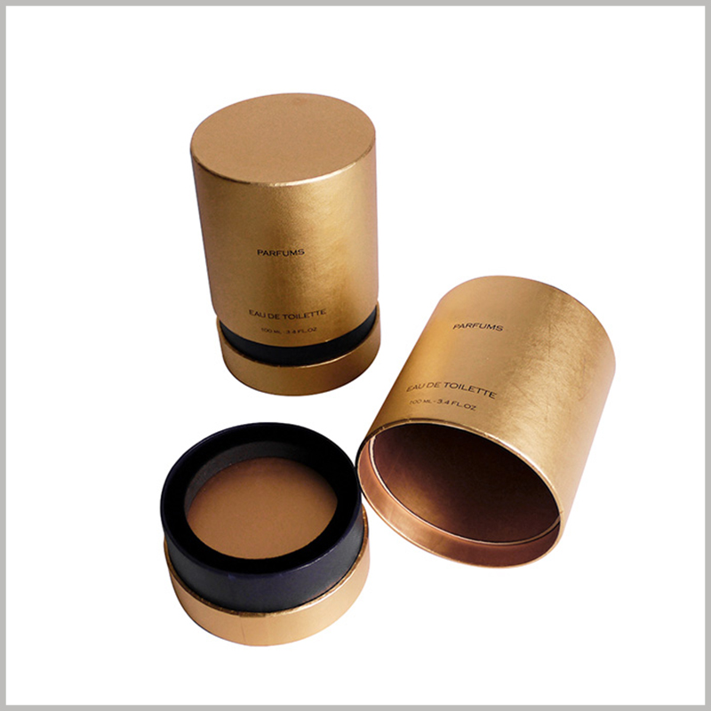 custom golden perfume packaging tubes.The customized perfume tube is packed with an EVA ring insert, which is used to fix the perfume glass bottle.