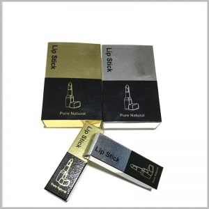 "custom high-end pretty lipstick packaging boxes with printing.As a packaging material, the fine dot pattern paper is printed into a ""gold cardboard"" or ""silver cardboard"" style to increase the value of lipstick boxes."