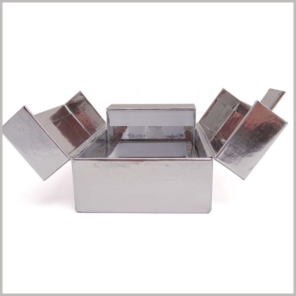 custom high-end silver cardboard boxes for perfume packaging, Custom packaging is opened on both sides.