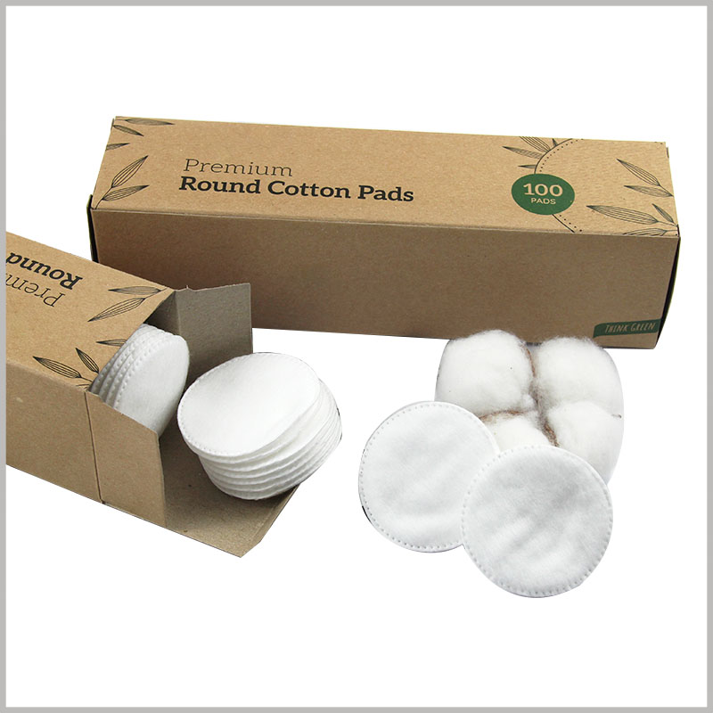 custom kraft paper packaging for cotton pads box. Simple packaging design style, but the basic information of the brand and product are presented to consumers.