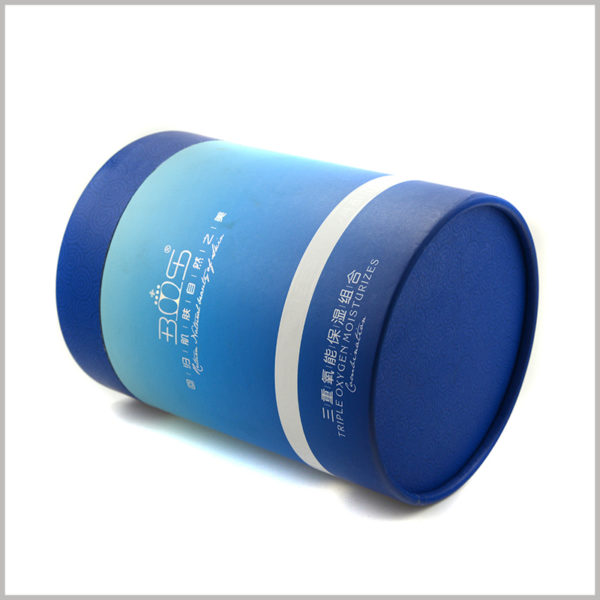 custom large diameter paper tubes packaging for Moisturizing skincare boxes,The blue ocean as the main element of packaging design is closely related to the skin care product concept.