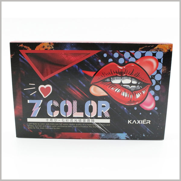 custom lip gloss boxes wholesale. With the help of CMYK printing, the cosmetic packaging is printed with graphics and text related to the lip gloss in the customized box, making the lip gloss packaging directional.
