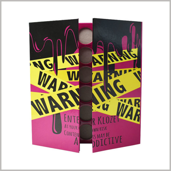 custom makeup eyeshadow palette packaging boxes. The front of the cosmetic packaging has unique printed content and promotional slogans, and eye shadow is more likely to attract customers' attention.