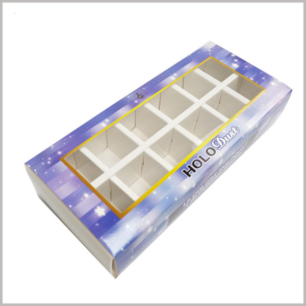 custom nail polish boxes with window for lot of 12 bottles. The transparent pvc window on the top of the customized nail polish package will satisfy the customer's peeping feeling, and the customer can directly see part of the product's style.