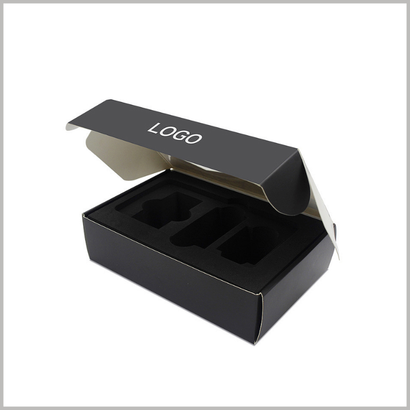 custom packaging with logo for nail polish boxes. The interior of the custom packaging has black flocking EVA, which can be used to fix the product.