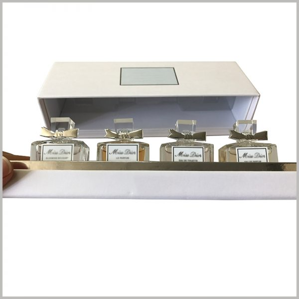 custom perfume boxes packaging for 4 bottles. The perfume glass bottle is inserted into the blister upright, which is a good way of display and makes the perfume packaging structure more compcustom perfume boxes packaging wholesaleact.