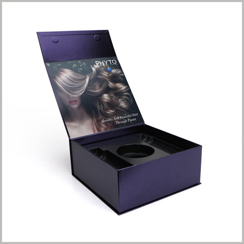 custom printed boxes for shampoo packaging. The blister inside the custom packaging can accommodate three hair care products, which are placed and displayed in an orderly manner.