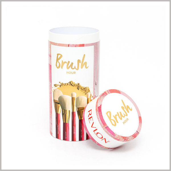 custom round boxes for makeup brushes packaging. The color scheme and packaging design enhance the appeal of customized product packaging.