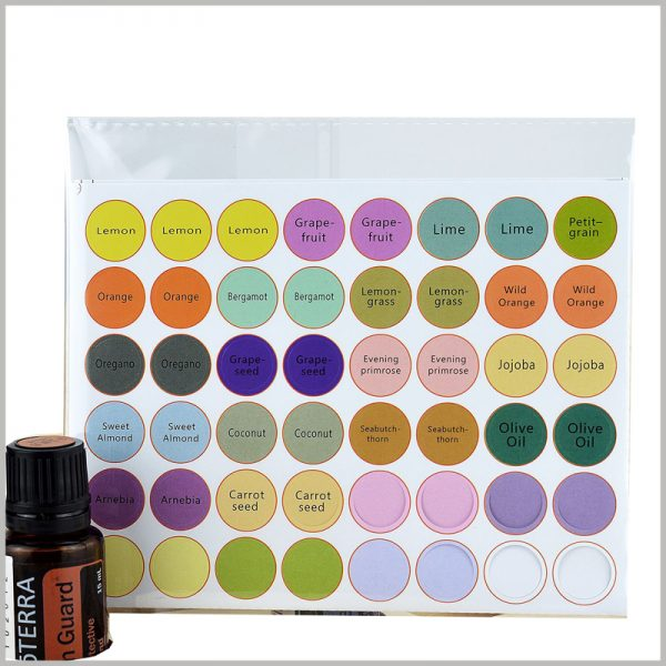 custom round labels for essential oil bottles top cap. Custom paper labels are waterproof and have high adhesiveness, which meets the requirements of essential oil labels.