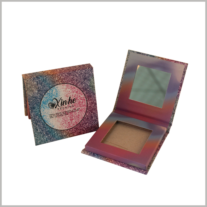 custom single eyeshadow packaging with windows. using colored hard cardboard as the material, the paper is hard and wear-resistant and shiny.