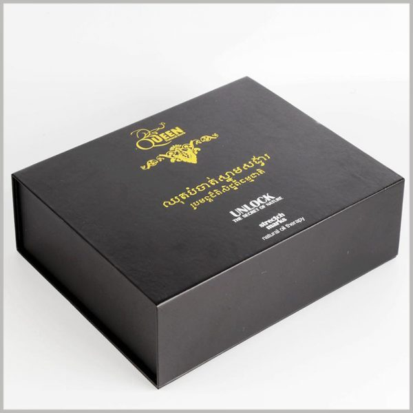custom skin care essential oil packaging boxes set,black hard cardboard boxes with printing.