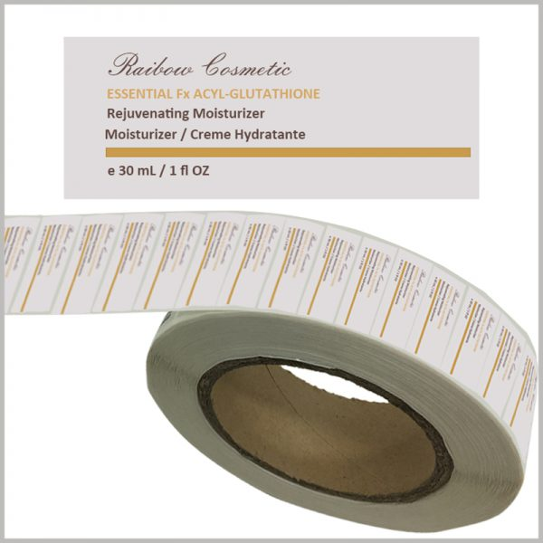 custom skin care product labels for moisturizer.Rectangular paper labels are used for skin care product labels, and the information on the label is printed by CMYK and bronzing.