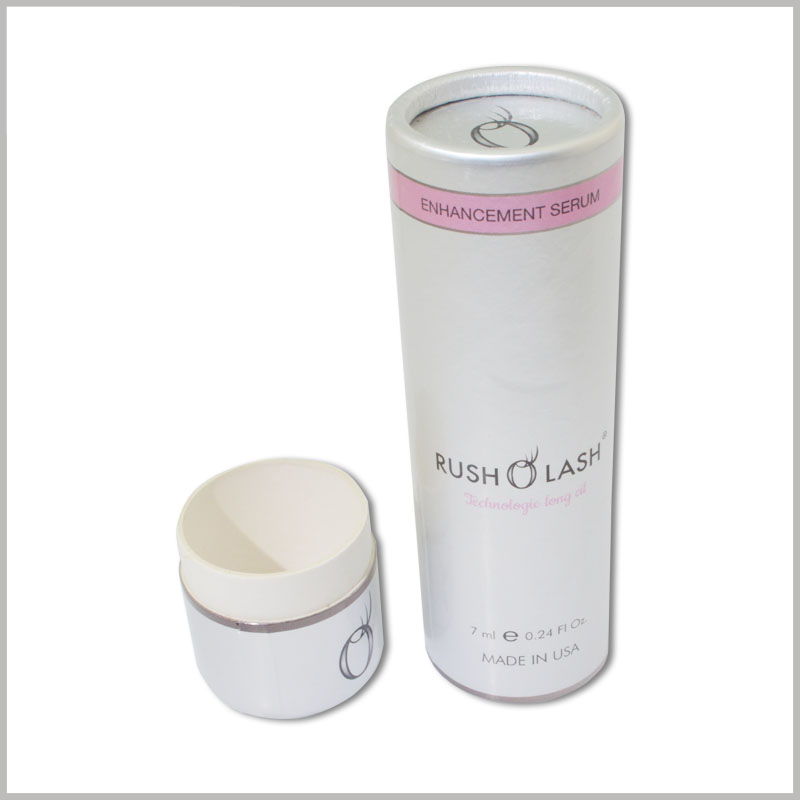 custom small round boxes for rush lash oil packaging.350g white powder cardboard is rolled into a paper tube with a thickness of 0.8mm, and the printed cardboard is used as laminated paper, which makes the packaging more beautiful.