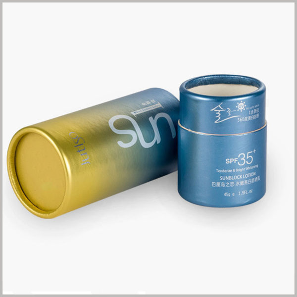 custom small round boxes packaging for 1.5oz sun lotion.This small paper tube package has printed content. The printed product information allows customers to quickly and independently understand the product.